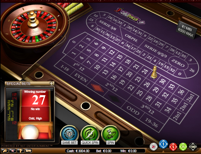 roulette casino mise minimum